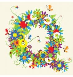 letter Q floral design vector image vector image
