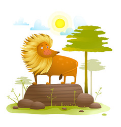 Lion animal cartoon in wild nature with trees lawn vector