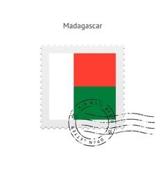 Madagascar flag postage stamp vector