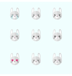 minimalistic flat bunny emotions icon set vector image vector image