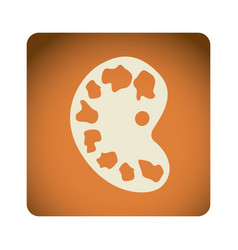 Orange emblem artist palette icon vector