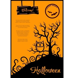 Retro graphical poster with halloween elements vector