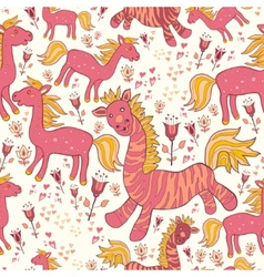 Seamless pattern with horses and flowers vector