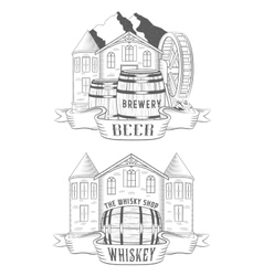 Set Beer House and Whiskey Shop vector image