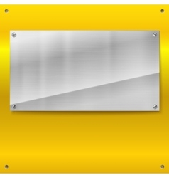Shiny brushed metal plate with screws vector image vector image