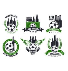 Soccer bar or football beer pub ball icons vector