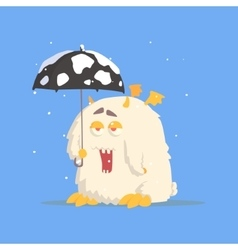 White fluffy monster with tiny wings and umbrella vector