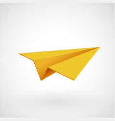 yellow paper airplane illsutration vector image