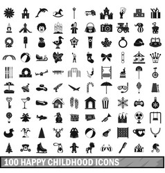 100 happy childhood icons set simple style vector