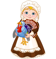 Pilgrim lady with turkey vector image