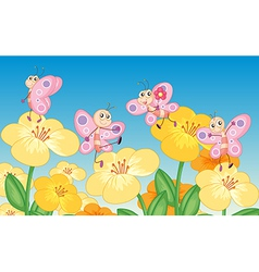 Butterflies next to flowers vector image