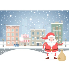Cute cartoon santa claus with bag in the small vector