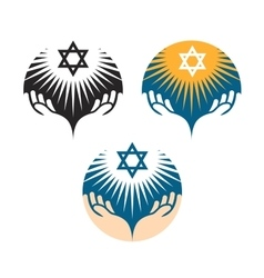 Star of david icons hanukkah symbol vector