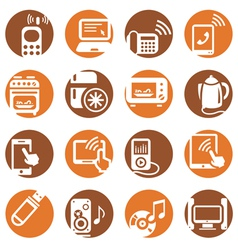 Color electronic devices icons vector