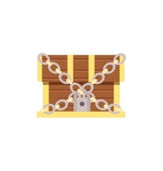 Wooden chest cartoon with lock vector