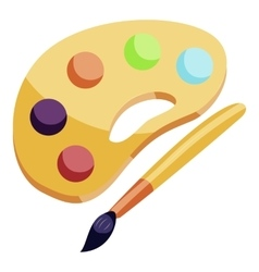 Art palette and brush icon cartoon style vector image