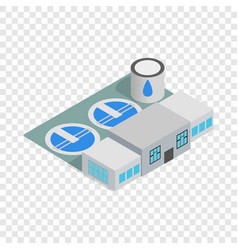 Water treatment building isometric icon vector
