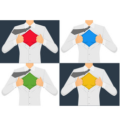 man ripping the shirt set vector image