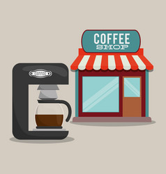 Coffee shop machine coffee maker vector