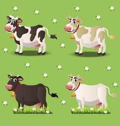 Cows on green grass vector