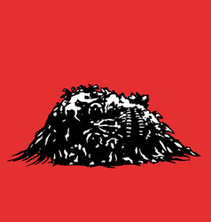 Horror skull lies in a pile of purulence vector