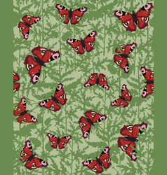 Floral pattern leaves butterfly tropical nature vector