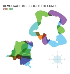 Abstract color map of democratic republic vector