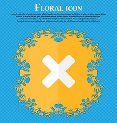 Cancel multiplication floral flat design on a vector