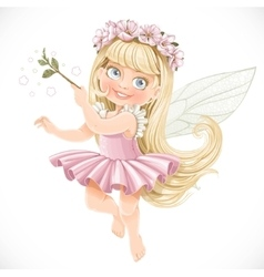 Cute little spring fairy girl in a pink tutu with vector