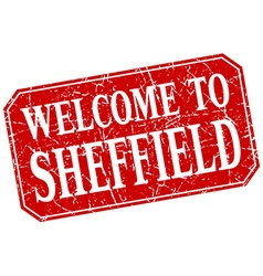 Welcome to sheffield red square grunge stamp vector