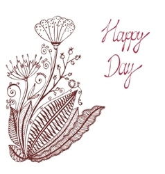 Happy day Vintage background with ancient flowers vector image