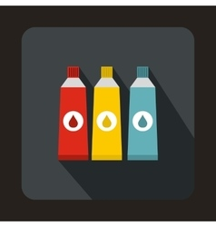 Three tubes with colorful paint icon vector