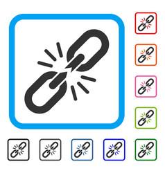 break chain link framed icon vector image vector image