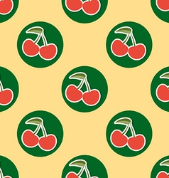 Cherry pattern Seamless texture with ripe red vector image vector image