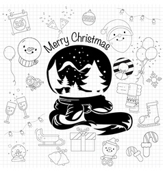 Christmas decorative elements for holidays in draw vector