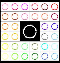 Circular arrows sign felt-pen 33 colorful vector