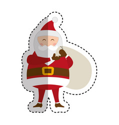 cute santa claus character with gifts bag vector image