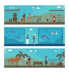 flat banners zoo vector image