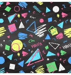 Geometric color chalked seamless pattern vector image vector image