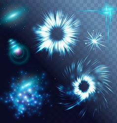 glowing stars ghts and sparkles vector image