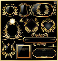 golden label with laurel wreaths vector image vector image