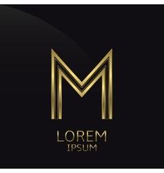 Golden M Letter vector image