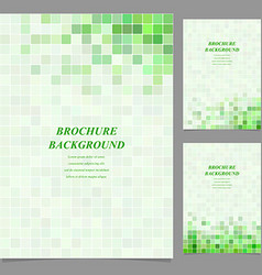 Green square tile mosaic brochure design vector
