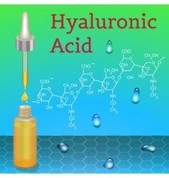 Hyaluronic acid bottle chemical formula vector