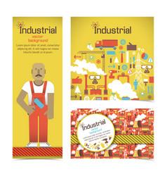 Industrial equipment and workman banners set vector