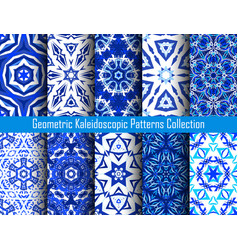 Kaleidoscope decorative blue backgrounds vector