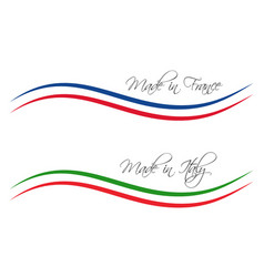 logos made in france and made in italy vector image