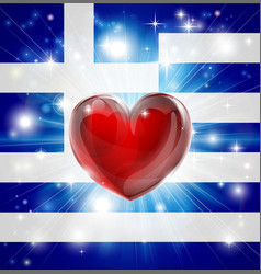 Love greece flag heart background vector