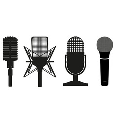 Microphone black silhouette vector