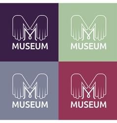 Museum monogram with hands vector